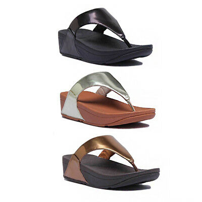 cc32d1daf8ed1b Fitflop Lulu Mirror Women Faux Leather Gold Mirror Toe Thong Sandals Size 3  - 8