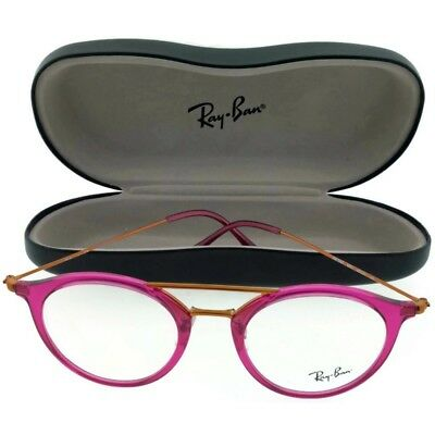 9ca7d48438f63 Ray Ban RB7097-5631 Aviator Unisex Fuschia Frame Clear Lens Genuine  Eyeglasses