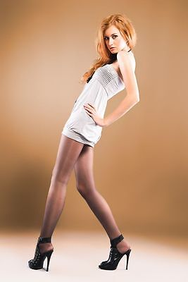 3 Pairs of 15 Denier With Lycra Tights Nearly Black, Natural, Olive or Navy