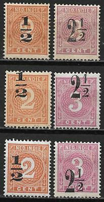 Netherlands Indies stamps 1902 NVPH 38-39+4x Shifted Ovpts MLH VF CAT VALUE $130