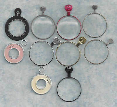 Lot of 10 Optical or Trial Lenses.. Silver, Gold, Red and Black frames .