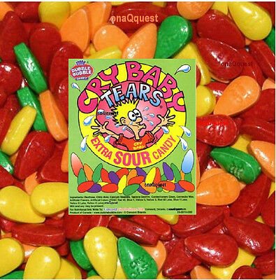 2lb CRY BABY EXTRA SOUR TEARS bulk candy Tart Tangy Fruit Dubble Bubble wonka