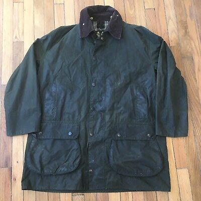 Barbour Border Waxed Cotton Olive Green Field Jacket Tartan Plaid Lined Men C 44