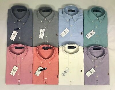 Polo Ralph Lauren Mens Genuine New White Blue Cotton Oxford Shirts All Sizes
