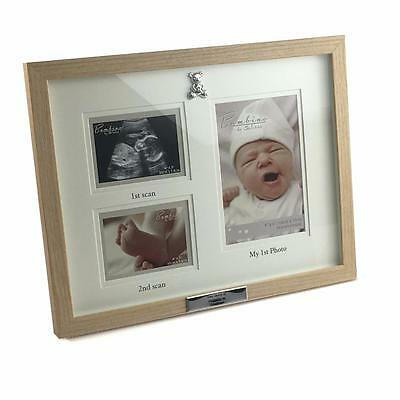 Personalised Triple Baby Scan Photo Frame Gift With 3D Teddy Icon CG1224-P