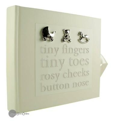 """Baby photo album gift with 3D icons holds 80 6"""" x 4"""" photos CG379"""