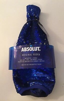 Absolut Vodka Limited Edition Bottle Cover - Blue Sequins flip to Silver 2017