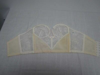 Vintage Lily Of France White Lace Strapless Bustier Bra 400 Size 34B