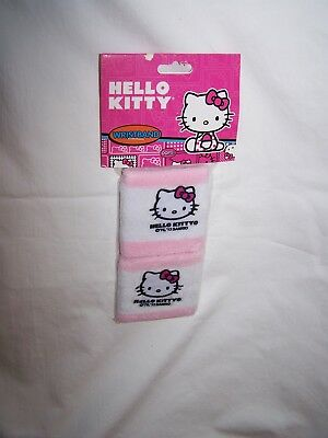 Hello Kitty Wristbands for Girl; One Pair White with Pink Trim; New In Package