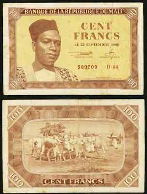 1960 Currency 100 Francs Bank of the Republic of Mali Banknote Modibo Keïta P2