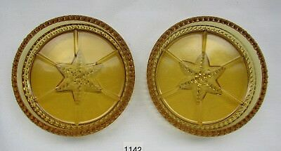 Degenhart Glass  Beaded And Star Coasters  (Amber) Set Of Two