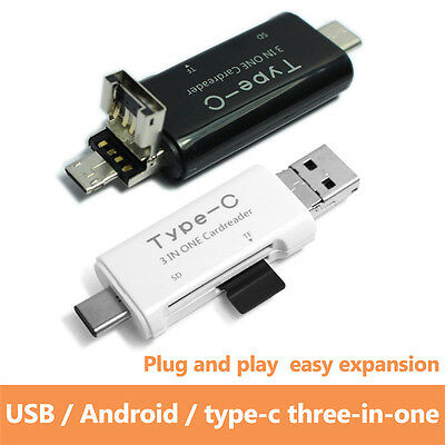 3 in1 OTG On The Go Host USB Cable+ Micro SD TF Card Reader Adapter For Samsung