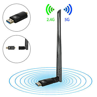1200Mbps WiFi Dongle WLAN Stick Dualband Wireless Adapter USB 2.4/5GHz 802.11AC