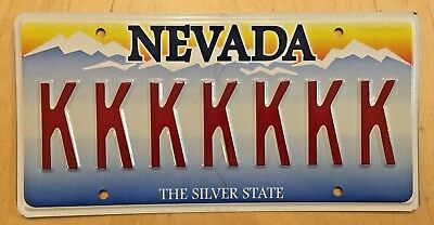 "NEVADA SILVER STATE Vanity License Plate "" KKKKKKK "" 7 REPEATING LETTER  K'S"