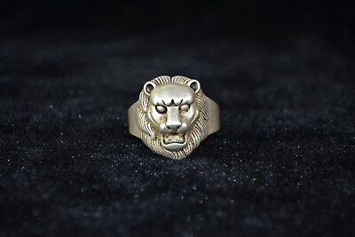 Collectible Vintage Chinese Old Tibet Silver Handwork Carved leo rare Ring