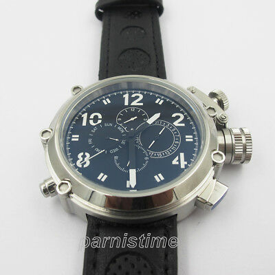 50mm Parnis Automatic Movement Men's Watch 24-hours Date Day Dial Stainless Case