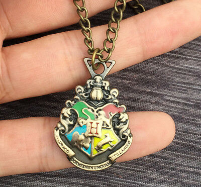 Bronze Harry Potter Hogwarts Logo Necklace Halsketten Anhänger  +Chain