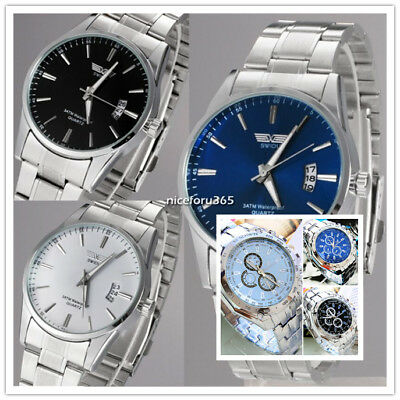 Men's Stainless Steel Band Watch Luxury Casual Analog Quartz Wrist Watches NICE
