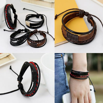 Unisex Men Women Retro Multilayer Leather Woven Wristband Couple Love Bracelets