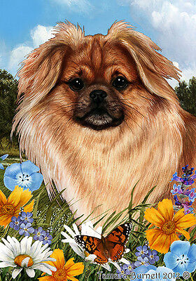 Large Indoor/Outdoor Summer Flag - Sable Tibetan Spaniel 18477