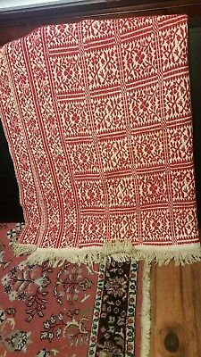 Antique Red Floral Squares Homespun Coverlet 62 by 84 inches