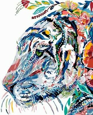 ABSTRACT TIGER PAINTING PAINT BY NUMBERS CANVAS KIT 20 x 16 ins FRAMELESS
