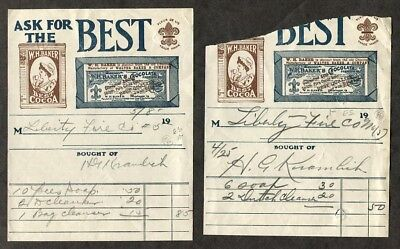 2 Antique Advertising Bill Heads W H Baker Chocolate and Cocoa 1907