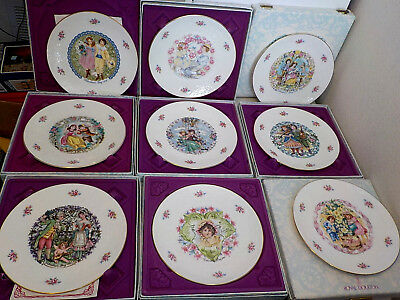 9 Vintage Royal Doulton Valentines Day Collector Plates W/boxes 1976 - 1985