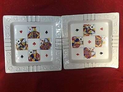 LARGE Pair ANTIQUE Vintage Hand Painted Playing Card Ash Trays