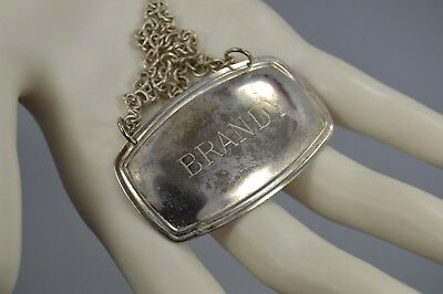"""Antique SILVER PLATED """"Brandy"""" Bottle Tag/Label ENGLAND"""