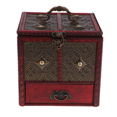 Chinese Retro Vintage Style Wooden Jewelry Box Organizer Storage with Handle