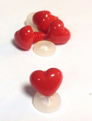 BRIGHT RED HEART NOSES -COLOURFUL Animal Safety Nose for Soft Toys & Teddy Bears