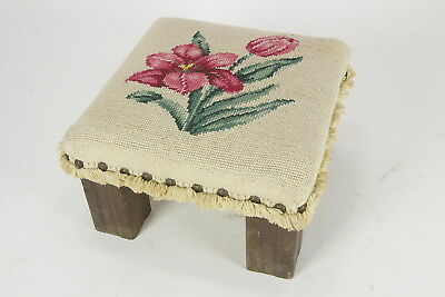 Small Needlepoint Topped Primitive Footstool Lily Flower Brass Tack & Fringe