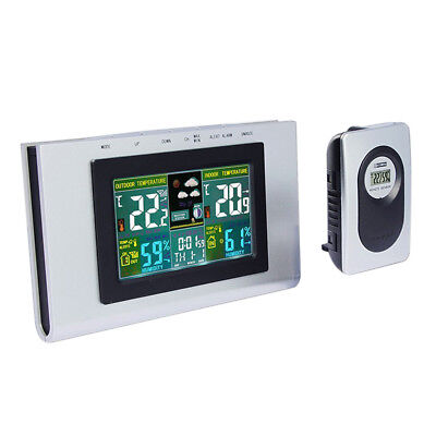 Wireless In/Outdoor Thermometer Hygrometer Temperature Humidity Meter Clock