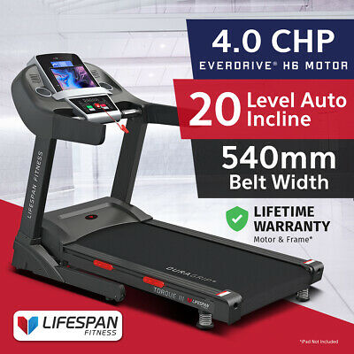 Genuine Lifespan Fitness TORQUE III #Extra Wide Belt 540mm Electric Treadmill