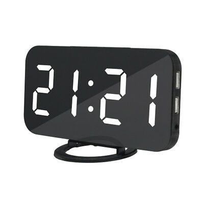 LED Digital Snooze Alarm Clock with USB Charge Port for Phone Charger White
