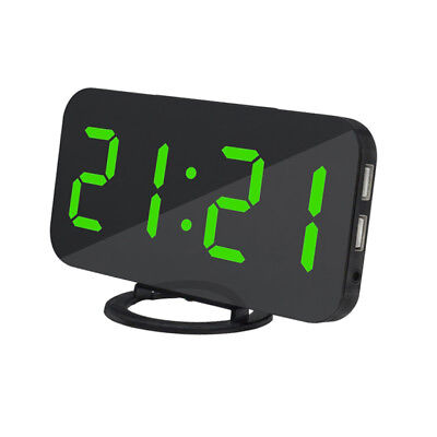 LED Digital Snooze Alarm Clock with USB Charge Port for Phone Charger Green