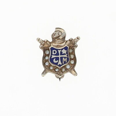 Vintage Demolay Pin - 14k White Gold Pearls Masonic Youth Blue Enamel