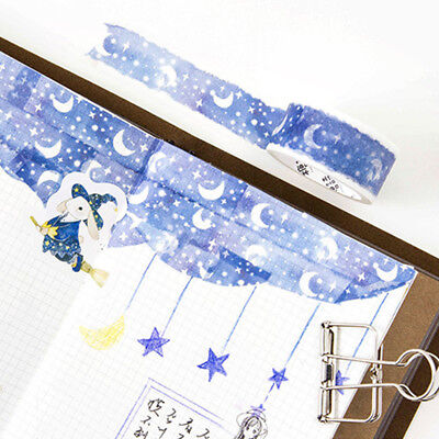 1 Roll Blue Moon Star Washi Tapes Stationery Stickers Scrapbooking Tapes Eyeful