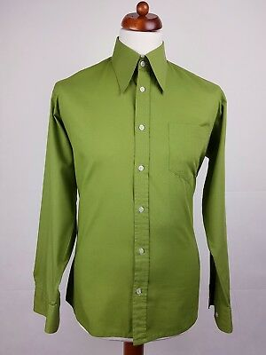 Vtg 1970s Olive Green Long Sleeve Polycotton Shirt Mod Disco -16/L- EX42