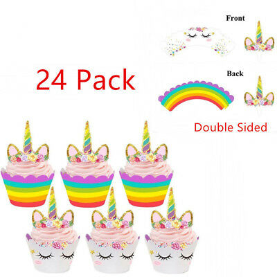 24Pack Rainbow Unicorn Cupcake Cake Wrappers Toppers Baby Shower Kids Birthday