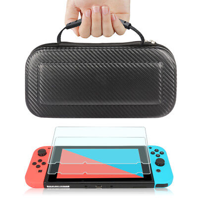 Nintendo Switch Black Carbon Fiber Carrying Bag Case+2pc Tempered Glass Screen