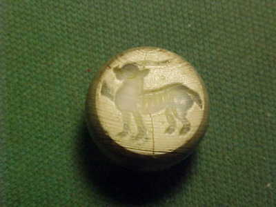 Sasanian dome seal of grey agate (Ibex) circa 224-642 AD.