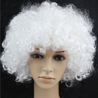White Curly Afro Wig Fancy Dress Party Costume Accessory Disco Clown Unisex Old