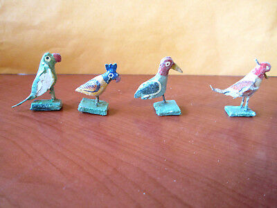 Lot Of 4 Antique / Original Handpainted, Handmade  Cuckoo Clock Birds (978M)