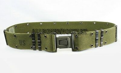 US Military Individual Equipment Pistol Web Belt OD Green Grey Buckle Large EXC