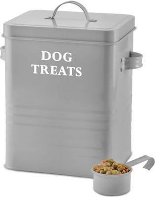 Andrew James Dog Food Storage Canister Treat Tin with Lid & Scoop 2.5kg Capacity