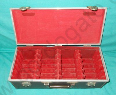 Portable 8-Track Cassette Carrying Case  24 Tapes, Brown Faux Leather, Red Felt