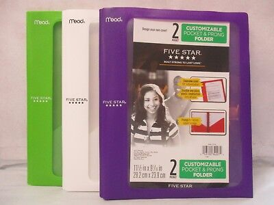 Five Star Customizable 2 Pocket & Prong Folder Report Covers, Plastic - 3 Pack