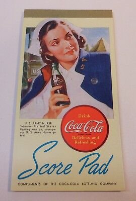 "VINTAGE COCA COLA 1940's ""Bridge score pad"" US Army Nurse"